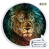 Serviette de Plage Ronde, Morbuy Été Microfibre Drap de Plage 59 inch Lion Houppe Absorption d'eau Tenture Housse de Canapé en Tissu 2 Clips (150cm,Transparent)
