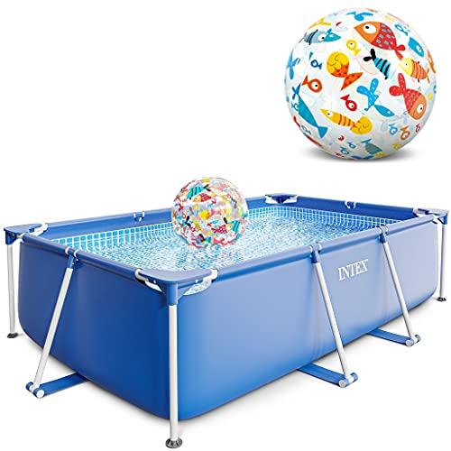 Intex Small Frame Swimming Pool rechteckig 260 x 160 x 65 cm Schwimmbecken 28271 mit Extra-Zubehör wie: Strandball