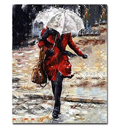 ZHAOSHOP Ölgemälde Frau im Regen ohne Regenschirm DIY Kits ausmalbilder auf leinwand wohnkultur büro wandkunst-40x50cm ohne Rahmen DIY Digitale Malerei