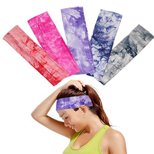 OKPOW Sport Stirnband, 5 Pack Stirnband für Herren und Damen, Einstellbare Sport Headband Anti Rutsch, Sport Haarband für Fitness, Yoga, Tanzen, Laufen, Wandern