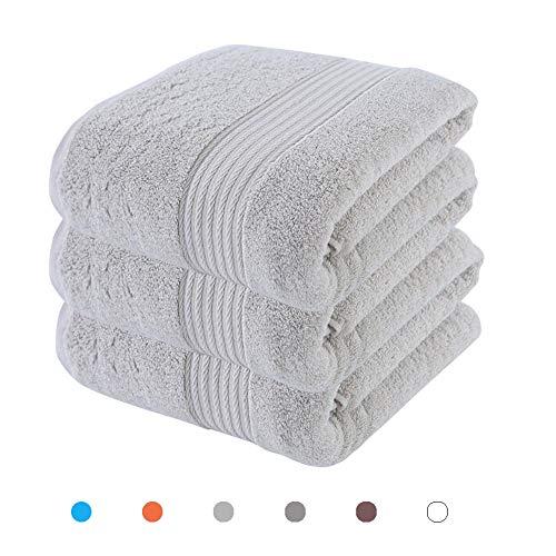 FANLIR Grote badhanddoekenset van 100% katoen, 3 verpakkingen van 80 x 150 cm, super absorberend 500gsm, sneldrogend, dagelijks zachte handdoek in hotelkwaliteit lichtgrijs