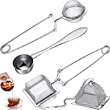4 Pieces Tea Infuser Ball Tea Strainer Stainless Steel Tea Infuser for Loose Tea Square Tea Strainer with Handle Triangle Tea Infuser and Tea Spoon for Brew Tea and Spices Seasonings