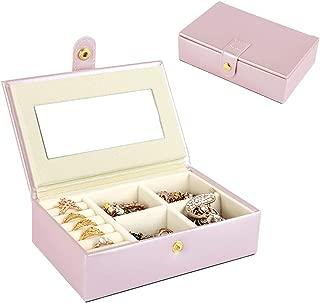 Color : Pink ZANGAO Port/átil de Viaje joyero de Cuero multifunci/ón Caja de Almacenamiento Caso Titular Pendiente Simple Girl Collar Placa Organizador