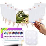 Mini Canvas and Easel, Cridoz 47 Pieces Mini Canvas Painting Set Includes 4x4 Inches Primed Canvas, Mini Easel, Acrylic Paint, Paintbrushes and Palette for Kids Artists Art Party