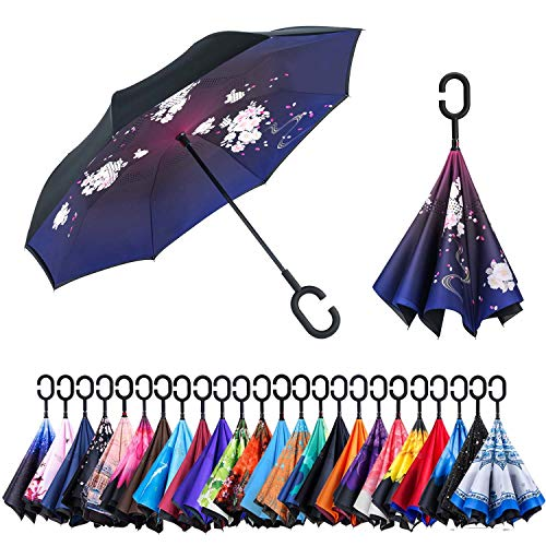 Newsight Reverse Umbrella, Double Layer Inverted Umbrella Upside Down, Self Stand, C Shape Handle, Inverse Inside Out Folding for Car, Windproof, Waterproof, Sun Protective (China Rose)