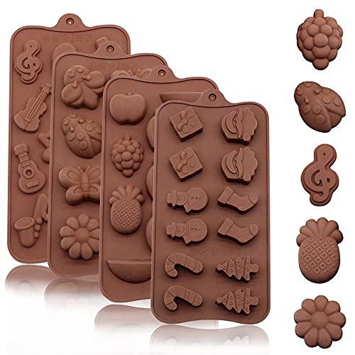 Stampo per Cioccolato, 4 Pezzi in Silicone Stampo per Cioccolato per Torte, Caramelle, Cubetti di Ghiaccio, Stampo per Cioccolato per Fare Gelatine di Dolci, Cottura per Biscotti