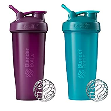 Blender Bottle Classic Loop Top Shaker Bottle, Plum/Plum and Teal/Teal, 28-Ounce 2-Pack