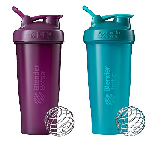 BlenderBottle Classic Loop Top Shaker Bottle, 28-Ounce 2-Pack, Plum/Plum and Teal/Teal