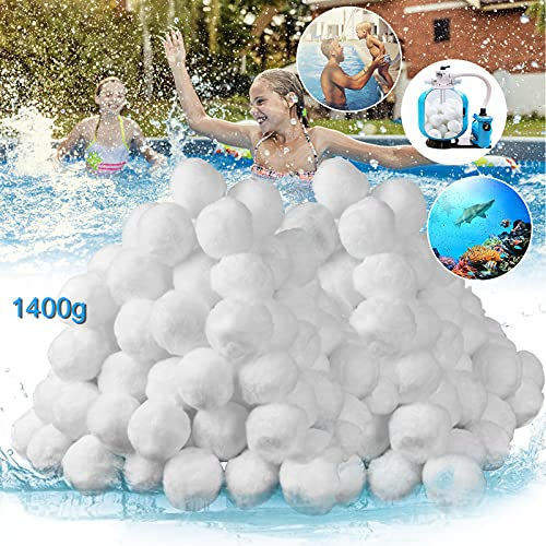 VAZILLIO Filterballs 1400g Pool Filterbälle ersetzen 50 kg Filtersand für sandfilteranlagen, Schwimmbad, Filterpumpe, Aquarium Sandfilter