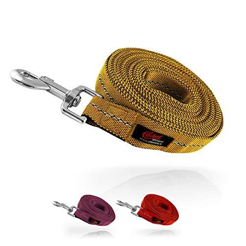 Effaband – Hundeleine / 25 mm breite & längenvariable Führleine (1m – 3m), Kurze Hundeleine bis zu 50m Langen Schleppleine/Suchleine für Hunde in 2 Farben (Rot & Purple) (8m, Ocker)