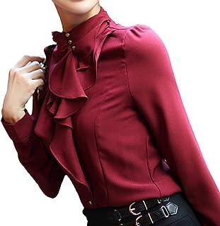 Elegante Manica Lunga Camicia Donna Colore Solido Slim Camicetta con Collo Alto Donne Vintage Vittoriano Stile Camicie con...