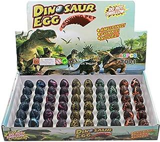 Beauenty 60 Pcs Magic Growing Dinosaur Eggs Add Water Child Gift Hatching Inflatable Toy +5 Cartoon Luminous Dinosaur Stic...