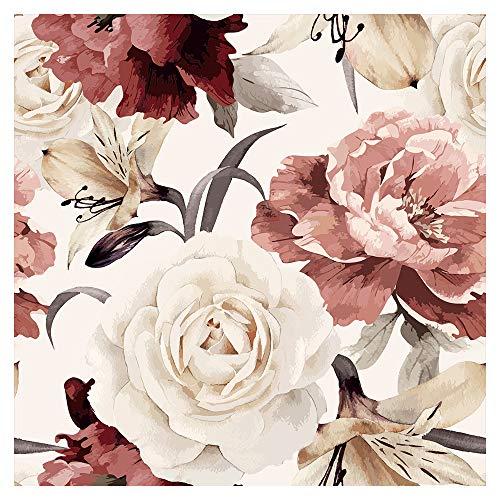 murando Tapete selbstklebend 10m Wandtattoo dekorative Möbelfolie Dekorfolie Fotofolie Panel Wandaufkleber Wandposter Wandsticker - Blumen Rosen Pfingstrosen b-C-0245-j-a