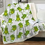 Sviuse Aerobics Frog Blanket Cartoon Cute Animals Print Soft Warm Throw Sherpa Flannel Blanket for Kids Bed Couch Sofa Travel Picnic Yoga (50'x60', Frog 1)