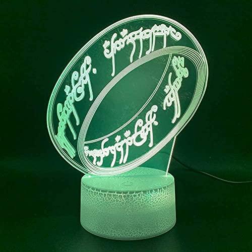 Lámpara 3D Lámpara De Mesa Decorativa Pulsera 7 Colores Control Táctil Con Buena Imagen Panel Decoración Regalo Creativo Casa Oficina,Regalo De Valentín