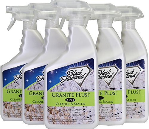 Black Diamond Stoneworks Granite Plus! 2 in 1 Cleaner & Sealer for Granite, Marble, Travertine, Limestone, Ready to Use! (6 quarts)