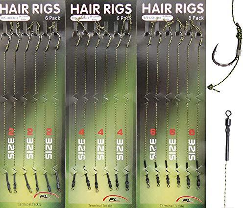 Carp Fishing Hair Rigs Braided Thread Line Curved Barb Hook High Carbon Steel Fishing Hook Fishing Swivel Boilies Carp Rigs Carp Fishing 18pcs/36pcs