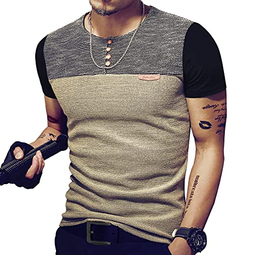 LOGEEYAR Mens Premium Fitted Short-Sleeve Contrast Color Stitching T-Shirt (Large, Black)