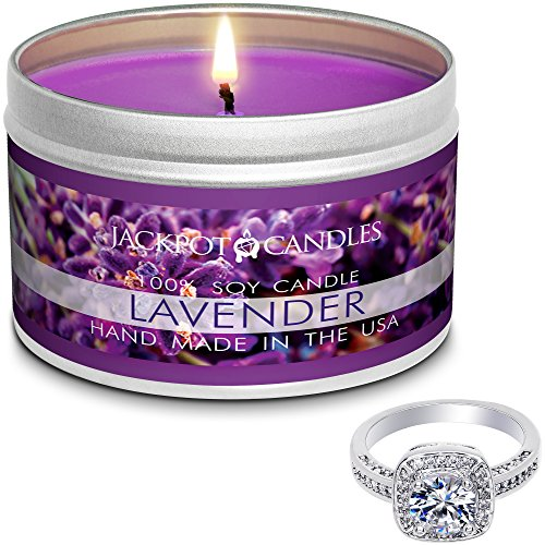 Jackpot Candles Surprise Size Ring Lavender Jewelry in Candle Travel Tin