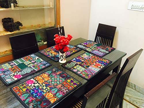 GANESHAM HANDICRAFT - Manteles de mesa de comedor hechos a mano de estilo indio, manteles individuales hechos a mano (6 piezas)