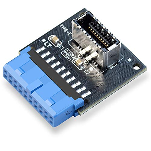 Rivo Computer Mainboard USB 3.0 Front 19PIN to 3.1 Type-C Front Panel Header Type-E Adapter 20 to 19 Pin Expansion Card(Header-180°)