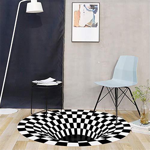 Teppich Rund Carpet Anti-Rutsch Illusionsteppich 3D Bodenmatte Vlies Schwarz Weiß Shaggy Teppich für Wohnzimmer Kinderzimmer Flur Sofa-120cmx120cm