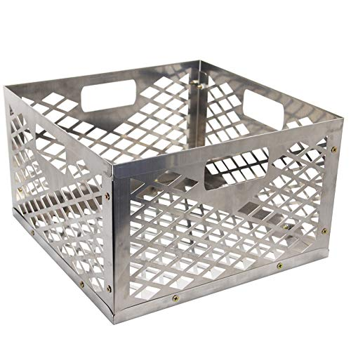 Blissun Charcoal Basket, Firebox Basket, Smoker Pit, Silver