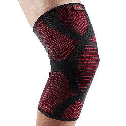 kuangmi Kniebandage Sleeve Gewichtheben Knie Schutz Pad Elastic dreidimensionalem Strick für Arbeit Arthritis Schmerzen 1, schwarz / rot
