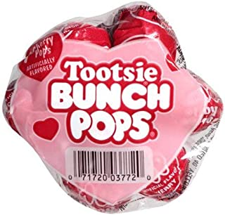 Tootsie Valentine Bunch Pops with Love Card, 7 Red Cherry Lollipops