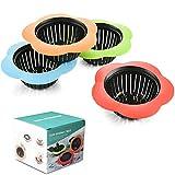 Plastic Sink Strainer, Silicone Kitchen Sink Strainer, Easy Clean Sink Drain Filter Basket, Kitchen Sink Basket Strainer( 4 Pack, Multicolored)