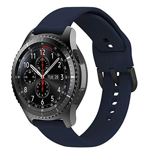 MroTech 22mm Correa Gear S3 Silicona Pulsera Repuesto Compatible para Samsung Galaxy Watch 46mm/S3 Frontier/Classic/Huawei Watch GT/GT 2 46mm/Sport/Active/Elegant Bandas Reloj Reemplazo-Azul s