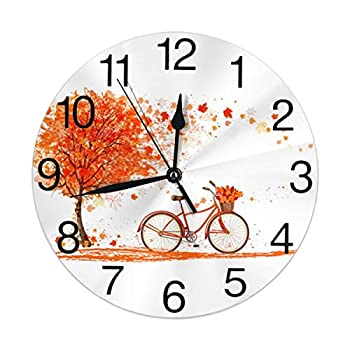 KiuLoam Autumn Tree and A Bicycle Round Wall Clock Silent Non Ticking Battery Operated Easy to Read for Student Office School Home Decorative Clock Art