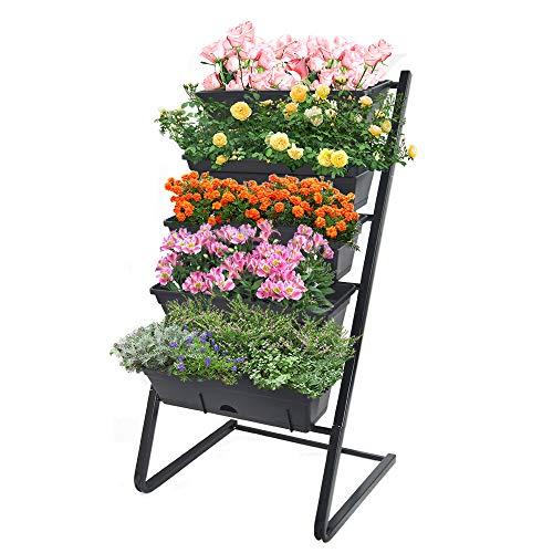 Vertical Raised Garden Bed with 5 Self Watering Pots - Indoor Outdoor Elevated Freestanding Kit , Water-Smart Design / Easy to Set Up Garden Planters Ideas for Patios/Decks/Verandahs