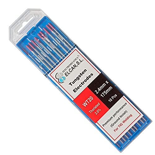 ELCAN Tungstenos soldadura TIG Torio 2.0% Rojo WT20 profesional, electrodos soldadura para torcha TIG de 1,0 1,6 2,0 2,4 3,2 mm, 10 unidades - Dimensiones: 2,4 x 175 mm
