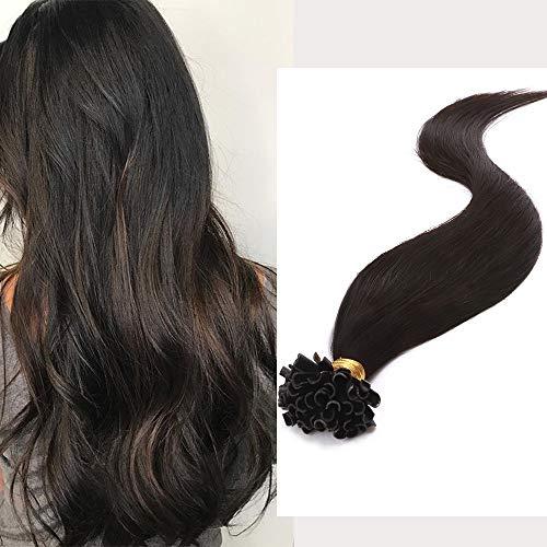 Extension Cheveux Naturel Keratine Cheveux a Chaud 100 Mèches - Rajout Cheveux Humain (#1B Noir naturel, 50cm - 50g)
