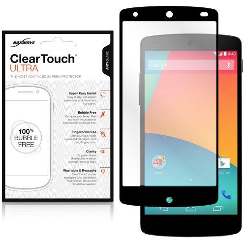 Protetor de tela Nexus 5, BoxWave [ClearTouch Ultra Anti-Glare] sem bolhas com borda de cordão para Google Nexus 5 – Preto