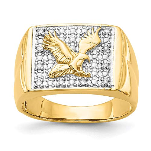 14k Yellow Gold and Rhodium Plated Diamond Men's Ring, Size 64