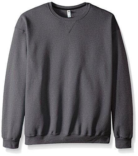 Fruit of the Loom Men's Fleece Crew Sweatshirt, Charcoal Heather, Medium