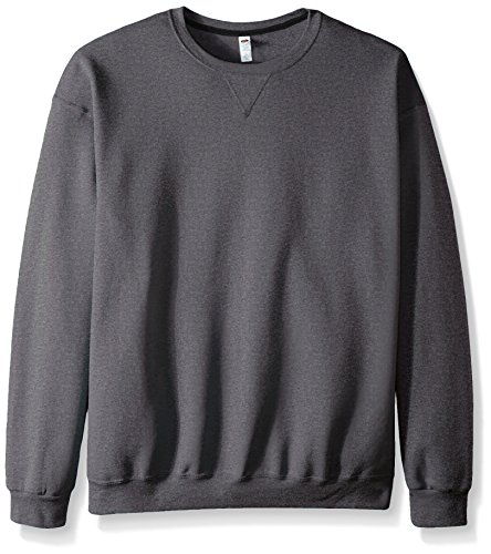 Fruit of the Loom Men's Fleece Crew Sweatshirt, Charcoal Heather, X-Large