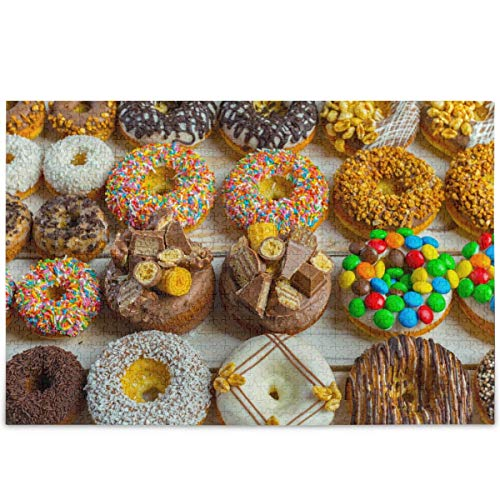 Donut Sweet Food Dessert Colorful Snack Jigsaw Puzzle 1000 Pieces Puzzles For Children, Stress Relief Puzzle For Adults DIY Family