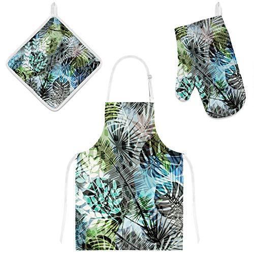 Avental de cozinha feminino, conjunto de luvas e suporte de panela, plantas tropicais coloridas, à prova d'água, isolamento térmico para assar, cozinhar churrasco