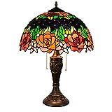 Sala Dormitorio Mesita de luz de la lámpara, Exquisito 40CM del vitral de Tiffany lámpara de Mesa Flor de Rose Stained Glass Shade Sala de Estar de la lámpara de la lámpara de Noche