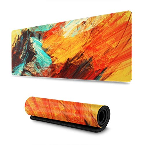 CVROY Art Abstract Painting Gaming Mouse Pad XXL Large Long Extended Mouse Mat Desk Pad Non-Slip Rubber Stitched Edges (31.5x11.8 Inch)