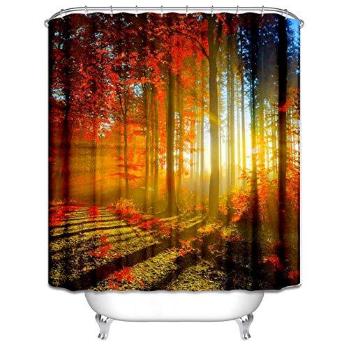 Beydodo Duschvorhang Antischimmel Ahorn Wald 3D Lustiger Duschvorhang 150x180 cm