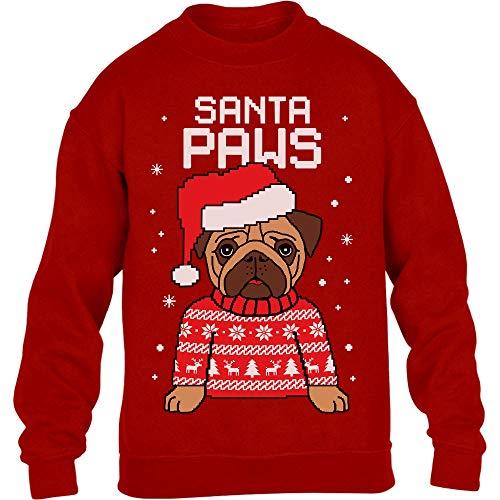 Kids Santa Paws Pfoten - Mops Weihnachtspullover Kinder Pullover Sweatshirt XL 152/164 Rot
