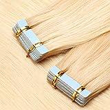 TESS Tape Extensions Echthaar Blond #613 Klebeband Haarteile Tape in Haarverlängerung Remy Human Hair Glatt 10 Stück 22'(55cm)-25g