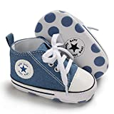 Baby Girls Boys Canvas Shoes Soft Sole Toddler First Walker Infant High-Top Ankle Sneakers Newborn Crib Shoes (0-6 Months M US Infant, A-Denim Blue 2)