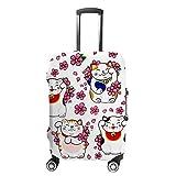 Ruchen - Funda protectora para maleta, diseño de gato de la fortuna Maneki Neko Sakura, para equipaje de varios tamaños