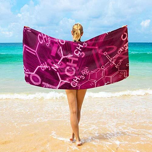 BAOYUAN0toalla de Playa Hombre Fórmula química Toalla de Viaje Ultra Absorbente para Hombres, Mujeres y niños 100*200cm Manta de Picnic Toallas de SPA