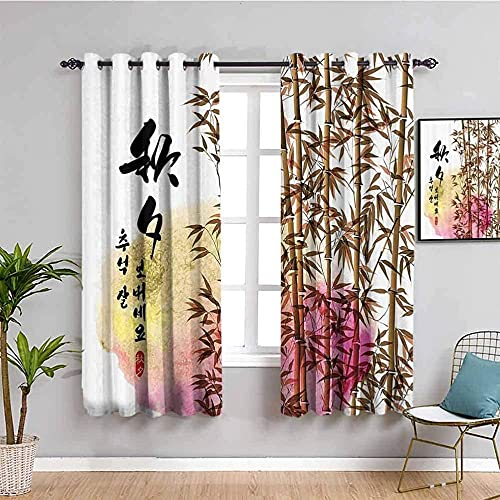 GJJHR Cortinas Salon Cortinas Moderna 3D - Estilo chino plantas bambú arte. - 200x160 cm - Cortinas Comedor Cortina para Salón Dormitorio Oficina Moderna Decorativa Reducción de Ruido